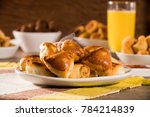 brazilian snack. meat esfiha... | Shutterstock . vector #784214839