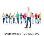 large group of teenage students ... | Shutterstock . vector #784220197
