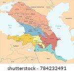 caucasus region map   detailed... | Shutterstock .eps vector #784232491