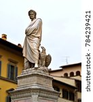 Small photo of Italy, Florence, December 2017 marble statue of the Italian poet Dante Alighieri in Piazza Santa Croce in Florence