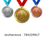 set of realistic 3d champion... | Shutterstock .eps vector #784239817