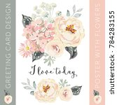 romantic bouquet with quote i... | Shutterstock .eps vector #784283155