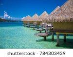 photo of bora bora bungalows in ...   Shutterstock . vector #784303429