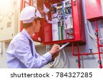 engineer inspection industrial... | Shutterstock . vector #784327285