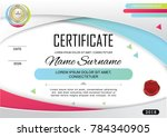 white official certificate with ... | Shutterstock .eps vector #784340905