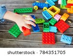 closeup of child's hand with... | Shutterstock . vector #784351705