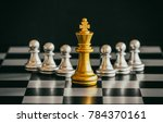 the king in battle chess game... | Shutterstock . vector #784370161