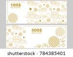 gift voucher template. golden... | Shutterstock .eps vector #784385401