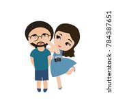 young couple in love. smile... | Shutterstock .eps vector #784387651