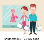 bored husband shopping with wife | Shutterstock .eps vector #784395355