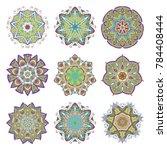 mandala set. abstract... | Shutterstock .eps vector #784408444