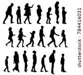 silhouette people go ... | Shutterstock .eps vector #784416031