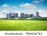 city park under blue sky with... | Shutterstock . vector #784426741