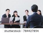 people of having an interview.... | Shutterstock . vector #784427854