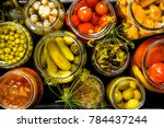 preserves vegetables in glass... | Shutterstock . vector #784437244