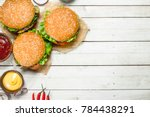burgers with fresh beef  cheese ... | Shutterstock . vector #784438291