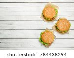 burgers with beef  cheese and... | Shutterstock . vector #784438294