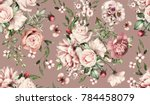 Stock photo seamless pattern with flowers and exotic leaves hand drawn background floral pattern for 784458079