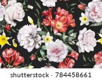 seamless pattern with flowers... | Shutterstock . vector #784458661