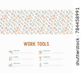 work tools concept with thin... | Shutterstock .eps vector #784458991