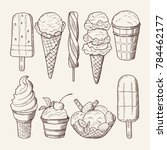 different ice creams with... | Shutterstock . vector #784462177