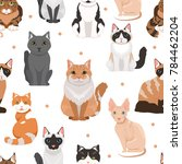 seamless pattern of cute cats. ... | Shutterstock . vector #784462204