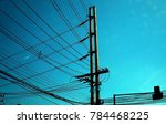 electric pole with electric... | Shutterstock . vector #784468225