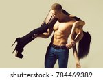 young couple of handsome macho... | Shutterstock . vector #784469389