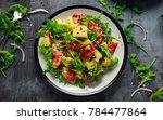 fresh crispy bacon  potato... | Shutterstock . vector #784477864