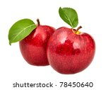 Two Red Apples With Leaves