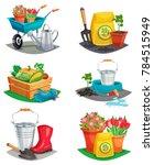 set of isolated garden design... | Shutterstock . vector #784515949