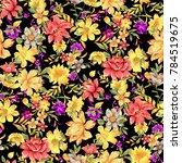 flower pattern black background   Shutterstock . vector #784519675