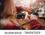 girl looking circuit board... | Shutterstock . vector #784547029