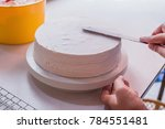 the chef is crepe cake  the... | Shutterstock . vector #784551481