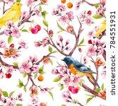 watercolor pattern tree... | Shutterstock . vector #784551931