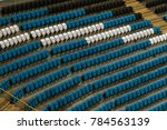blank old plastic chairs at the ... | Shutterstock . vector #784563139
