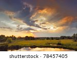 beautiful sunrise and dramatic... | Shutterstock . vector #78457405