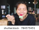 asian woman feeling happy... | Shutterstock . vector #784575451