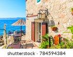 small coastal restaurant on...   Shutterstock . vector #784594384
