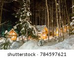 Snow Covered Forest Hut At...