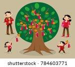 people throw tying joss paper...   Shutterstock .eps vector #784603771