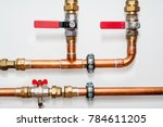 Copper Pipes And Valves On A...