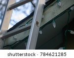 ladder leaning up on roof to...   Shutterstock . vector #784621285