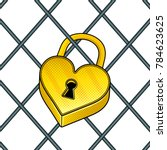 heart shaped lock pop art retro ...   Shutterstock .eps vector #784623625