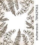 leaves of plants engraving... | Shutterstock . vector #784629361