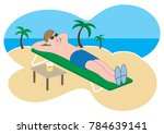 a young cartoon man is enjoying ... | Shutterstock .eps vector #784639141