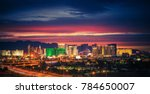 City of Las Vegas Skyline at Scenic Dusk. Colorful Lights of the World Famous Sin City. Nevada, United States. - stock photo