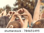 crowd of people at a concert... | Shutterstock . vector #784651495