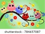bright cute cartoon owls sit on ...   Shutterstock . vector #784657087