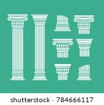 set o antique columns and parts ... | Shutterstock .eps vector #784666117